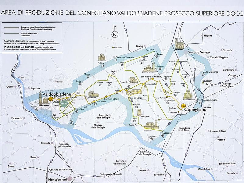Strada del Prosecco mappa